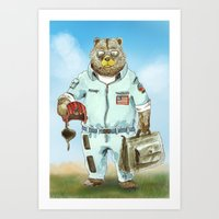 top gun Art Prints featuring Top Gun Bear by Mat Art