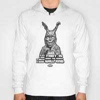"""donnie darko Hoodies featuring Frank from """"Donnie Darko"""" by Andysocial Industries"""