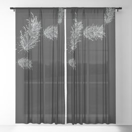 Flying Feathers Black and White Sheer Curtain