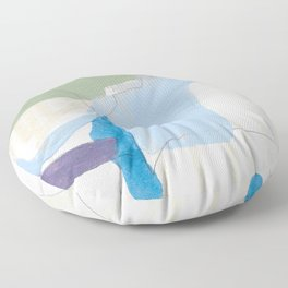 stone by stone 3 - abstract art fresh color turquoise, mint, purple, white, gray Floor Pillow