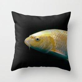 A lucky golden colored carp/Nishikigoi(Japanese Colored Carp) Throw Pillow