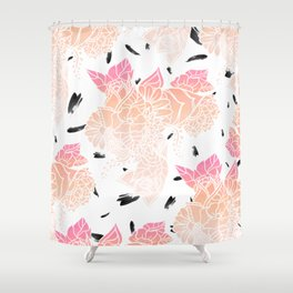Modern pink ombre coral watercolor floral illustration pattern black brushstrokes Shower Curtain