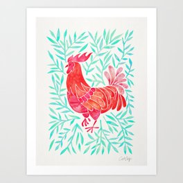 Le Coq – Watercolor Rooster with Mint Leaves Art Print