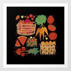 Farmers Market Veggies on Black_Robin Pickens Art Print