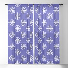 Snowflakes (White & Navy Blue Pattern) Sheer Curtain