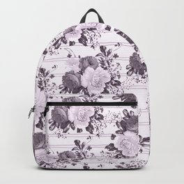 Bohemian vintage black white stripes floral Backpack