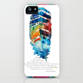Colorful Feather Art -  Blessing - By Sharon Cummings iPhone Case