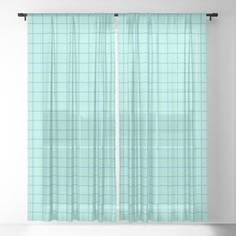 Grid Pattern - aqua and teal - more colors Sheer Curtain