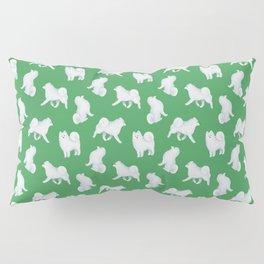 Samoyed Pattern (Green Background) Pillow Sham