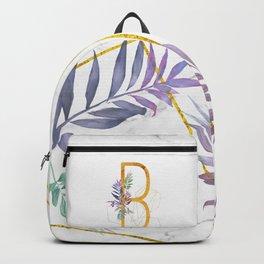 Modern glamorous personalized gold initial letter B, Custom initial name monogram gold alphabet prin Backpack