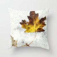 frozen Throw Pillows featuring frozen by Bonnie Jakobsen-Martin