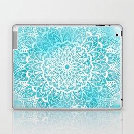 Blue Sky Mandala in Turquoise Blue and White Laptop & iPad Skin