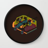 brown Wall Clocks featuring Brown by Marce Farce