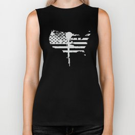 usa flag gun veteran t shirt Biker Tank