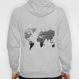 World Map - Ocean Texture - Black and White Hoody