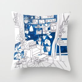 Blue Bungalow Throw Pillow