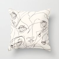 girls Throw Pillows featuring Girls by 5wingerone