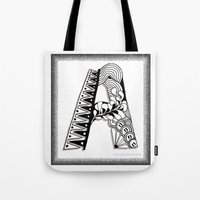 Tote Bags featuring Zentangle A Monogram Alphabet Illustration by Vermont Greetings