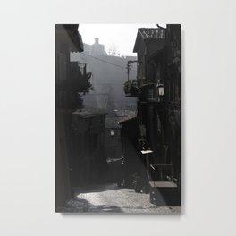 Fog Engulfs a Quiet Village Metal Print