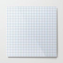 Blue on White Grid Metal Print