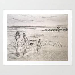 Girls Beach Day Art Drawing Art Print