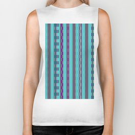 Modern Stripes Turquoise Purple Biker Tank