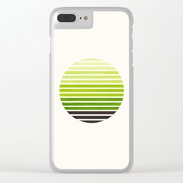 Sap Green Mid Century Modern Abstract Minimalist Circle Sunset Stripes Ombre Watercolor Geometric Clear iPhone Case