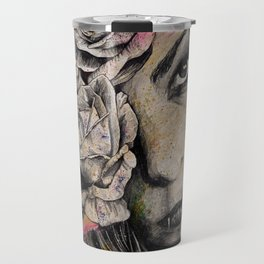 Of Suffering (dark lady portrait with roses) Travel Mug