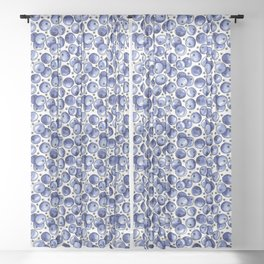 Watercolor Blueberries Sheer Curtain