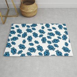Cute Blue Candy Skulls Pattern - Kawaii Goth Rug