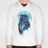 owls Hoodies featuring Midnight Owl by Robert Farkas