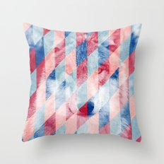 Red Blue Abstract Geometric Pattern Gray Wolf Head Throw Pillow