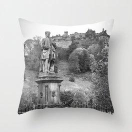 allan ramsay statue and edinburgh castle Scotland Throw Pillow