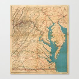 Vintage Map of Virginia and The Chesapeake Bay (1862) Canvas Print