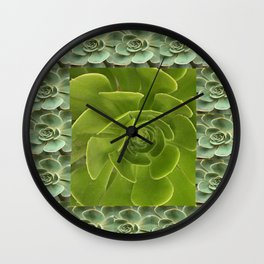 COLLAGE GRAY-GREEN  SUCCULENTS  MODERN DESIGN Wall Clock