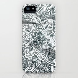 Indie Floral Mandla on White Marble iPhone Case