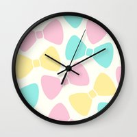 bows Wall Clocks featuring Pastel Bows by XOOXOO