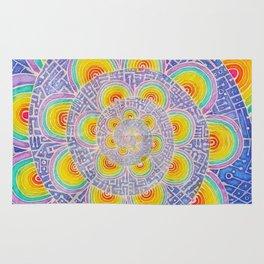 Rainbow Mandala Colorful Psychedelic Trippy Spiral Tapestry Painting Batik (Triametes Versicolor) Rug