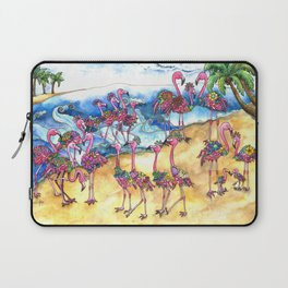 Beach Day for a Flamboyance of Flamingos Laptop Sleeve