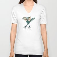 metal V-neck T-shirts featuring ANGRY BIRD METAL by Diego Verhagen