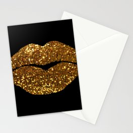 Gold Sparkle Kissing Lips Stationery Cards