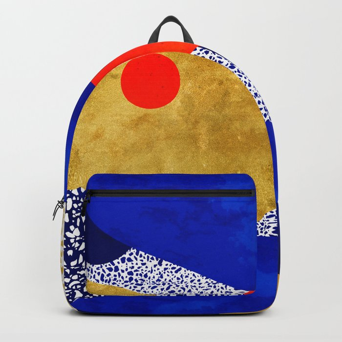 Terrazzo galaxy blue night yellow gold orange Rucksack