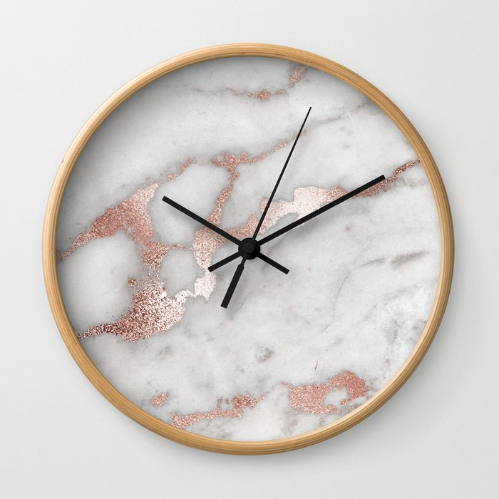 Rose Gold Marble Wall Clock
