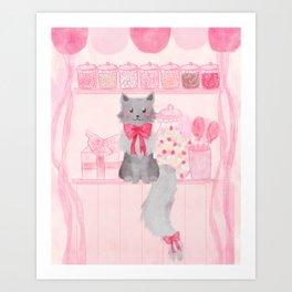 Candy Shop Cat Art Print