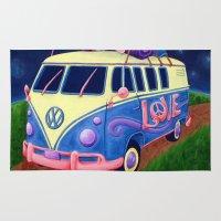 hippie Area & Throw Rugs featuring Hippie Van by whiterabbitart