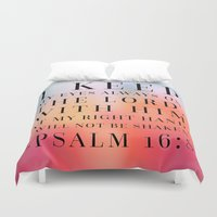 bible verse Duvet Covers featuring Psalm 16:8 Bible Quote by Biblelicious