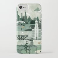 travel poster iPhone & iPod Cases featuring Chicago Travel Poster Illustration by ClaireIllustrations