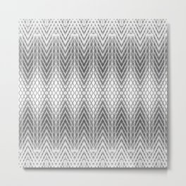 Cool Silver Grey Frosted Geometric Design Metal Print