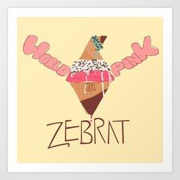 World in Pink - Zebrat Single Art Art Print