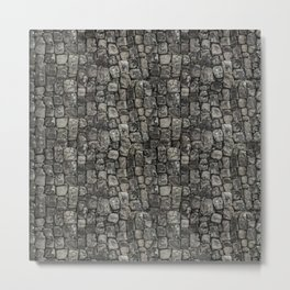 Ancient Stone Wall Pattern Metal Print
